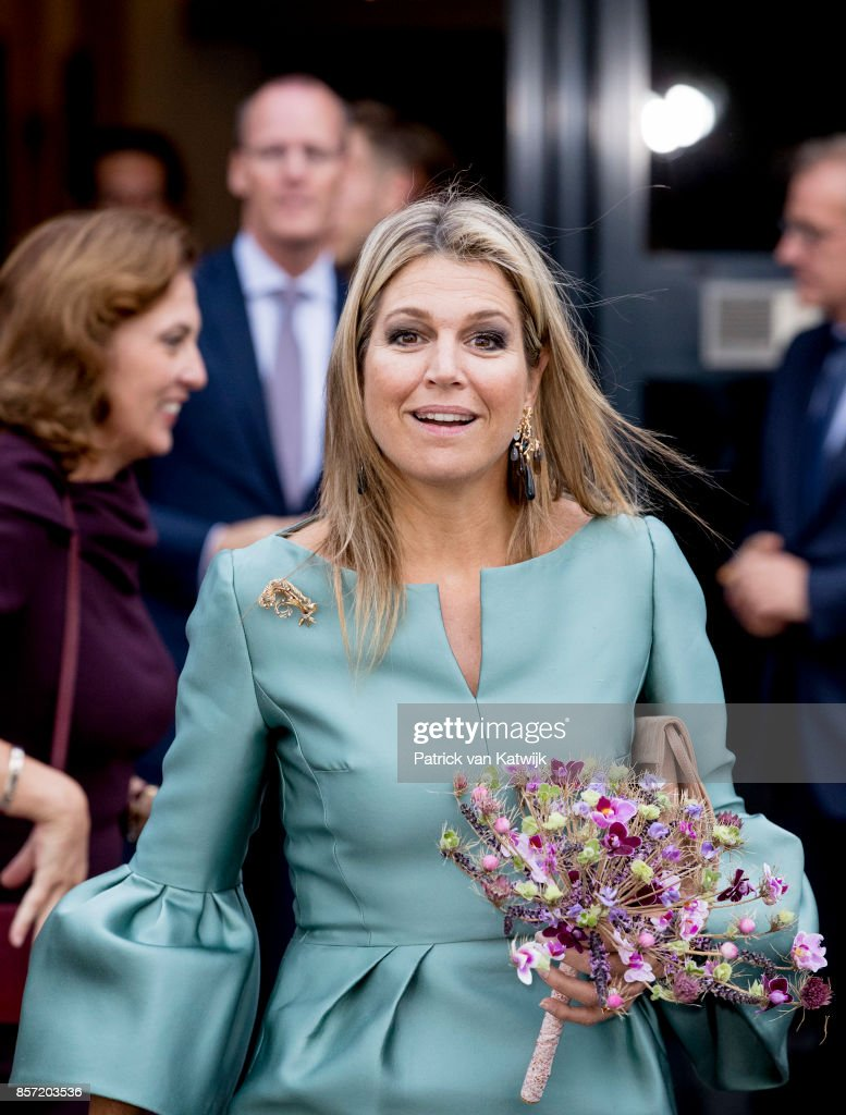 Queen Maxima of The Netherlands attends the King Willem I lecture at Koppert Cress on October 3, 2017 in Westland, Netherlands. Queen Maxima is honorary chairwoman of the King Willem I foundation rewards a prize for entrepreneurship.