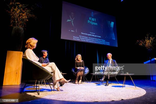 Queen Maxima of The Netherlands attends the King Willem I lecture about entrepreneurship in Theater Markant on September 27, 2021 in Uden,...