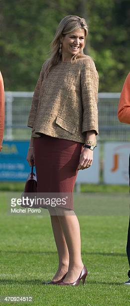 Queen Maxima of The Netherlands attends the King's Day Games on April 24 2015 in Leiden Netherlands The games are part of celebrations marking the...