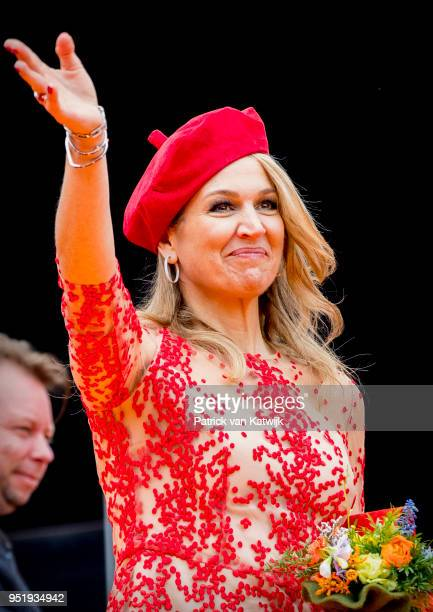 Queen Maxima of The Netherlands attends the Kingsday celebration on April 27 2018 in Groningen Netherlands