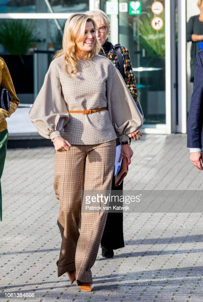 Queen Maxima of The Netherlands attends the launch of the debt lab NL in on November 14 2018 in The Hague Netherlands The debt lab is an partnership...