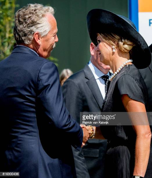 Queen Maxima of The Netherlands attends the MH17 remembrance ceremony and the unveiling of the National MH17 monument on July 17 2017 in Vijfhuizen...