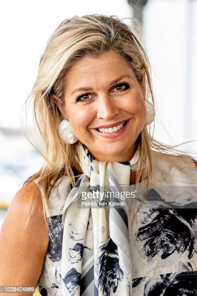 Queen Maxima of The Netherlands attends the national Music Table Day of Foundation More Music in the Class on September 09, 2020 in Katwijk,...