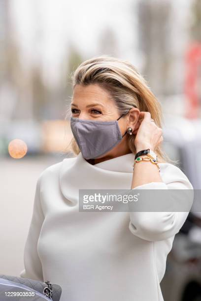 Queen Maxima of The Netherlands attends the NLGroeit event for entrepreneurs on December 2, 2020 in Gouda, Netherlands.