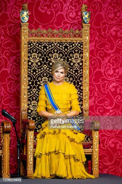 Queen Maxima of The Netherlands attends the opening of the parliamentary year Prinsjesdag in the Grote Kerk on September 15, 2020 in The Hague,...