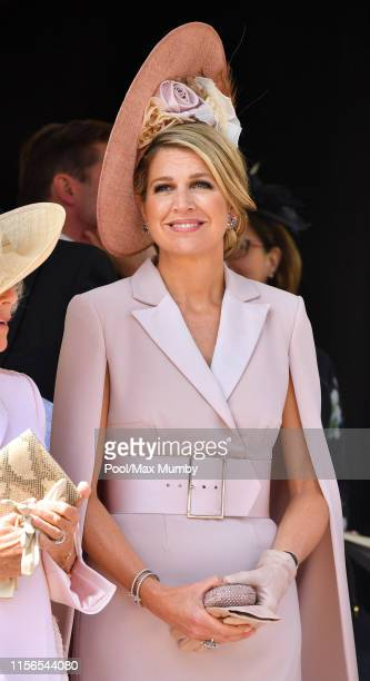 Queen Maxima of the Netherlands attends the Order of the Garter service at St George's Chapel on June 17, 2019 in Windsor, England. The Most Noble...