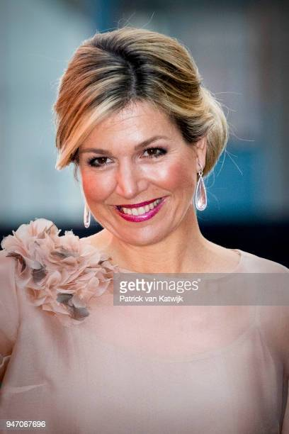 Queen Maxima of the Netherlands attends the premiere of the musical The color Purple on April 16 2018 in Amsterdam Netherlands