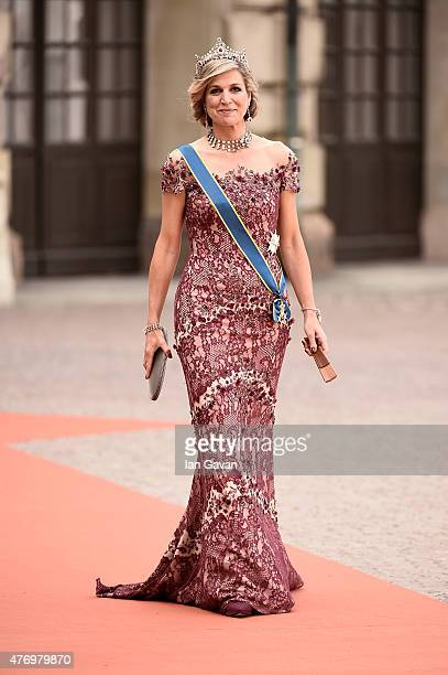 Queen Maxima of the Netherlands attends the royal wedding of Prince Carl Philip of Sweden and Sofia Hellqvist at The Royal Palace on June 13 2015 in...