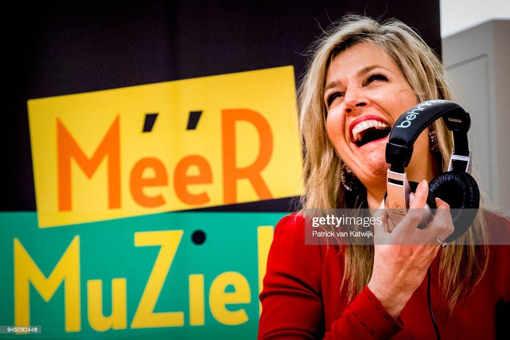 Queen Maxima Of The Netherlands Visits A Digital Composing Workshop