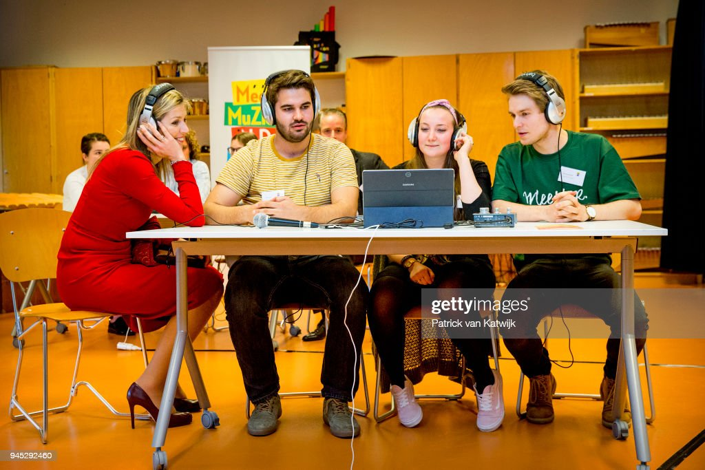 Queen Maxima of the Netherlands attends the workshop digital composing at the education school Pabo on April 12, 2018 in Leiden, Netherlands. The workshop is part of the study days of the music teachers of the Pabo's.