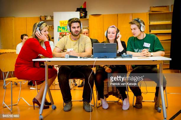 Queen Maxima of the Netherlands attends the workshop digital composing at the education school Pabo on April 12 2018 in Leiden Netherlands The...