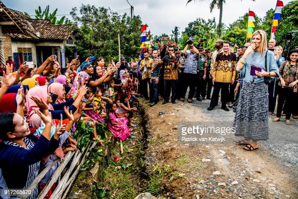 Queen Maxima of The Netherlands blows a kiss to the crowd as she visits corn farmers on February 12 2018 in Bandar Lampung Indonesia Queen Maxima is...