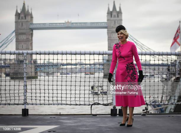 Queen Maxima of the Netherlands boards the Dutch ship HNLMS Zeeland anchored on the Thames next to HMS Belfast to watch an onwater capability...
