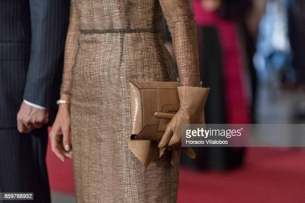 Queen Maxima of The Netherlands clutch bag detail pay homage to Luis Vaz de Camoes Portugal's and the Portuguese language's greatest poet before his...