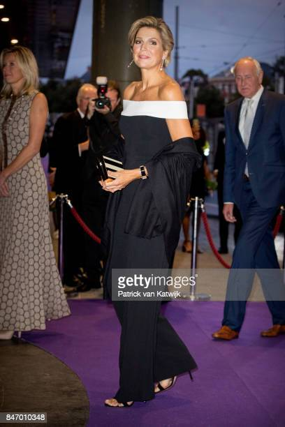 Queen Maxima of The Netherlands dressed in an jumpsuit from designer Rouland Mouret attends the opening of the new season of the Concertgebouw...
