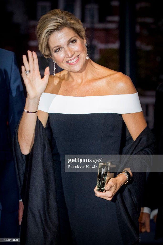 Queen Maxima of The Netherlands dressed in an jumpsuit from designer Rouland Mouret attends the opening of the new season of the Concertgebouw orchestra on September 14, 2017 in Amsterdam, Netherlands.