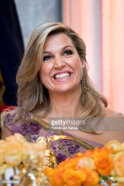 Queen Maxima of The Netherlands during a dinner for 150 Dutch people to celebrate King WillemAlexander of the Netherlands' 50th birthday in the Royal...