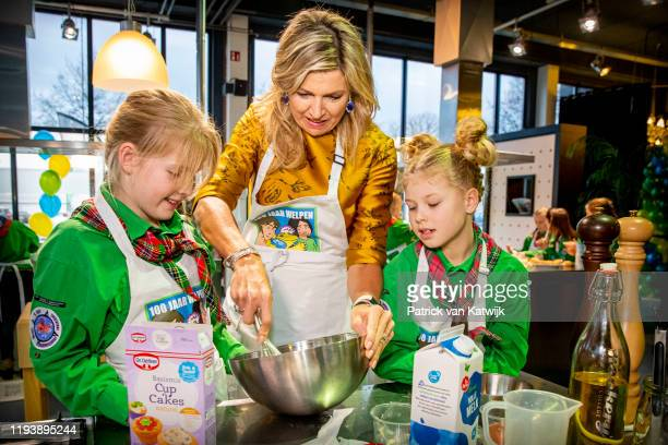 Queen Maxima of The Netherlands during a visit to the Scouting Netherlands cubs as they celebrated 100 years of the organisation on January 15, 2020...
