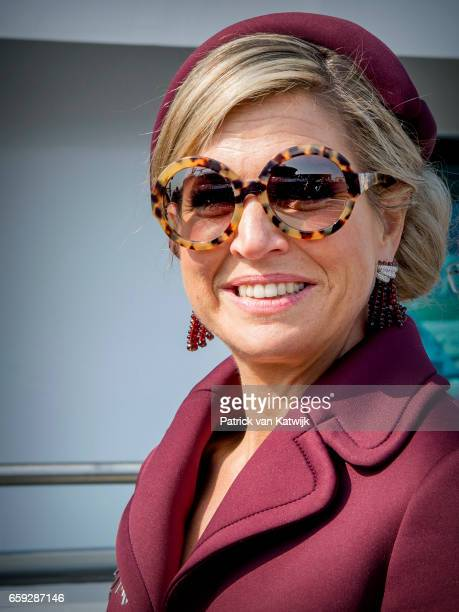 Queen Maxima of The Netherlands during an boat trip in the harbor of Rotterdam on March 28 2017 in Rotterdam The Netherlands The President of...