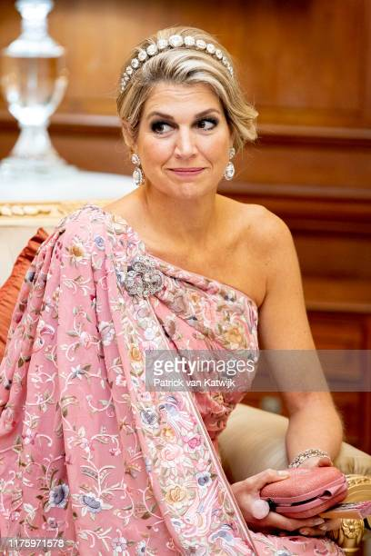 Queen Maxima of The Netherlands during an official state banquet hosted by President Ram Nath Kovind at the Presidential Palace on October 14, 2019...