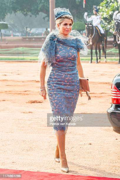Queen Maxima of The Netherlands during an official welcome ceremony with President Ram Nath Kovind and Prime Minister Ram Nath Kovind Modi at the...