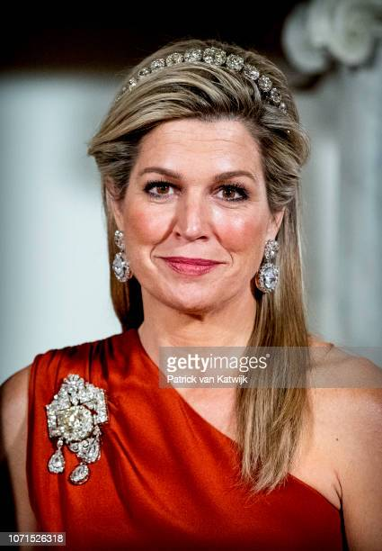 Queen Maxima of The Netherlands during an state banquet for the President of Cape Verde Jorge Carlos de Almeida Fonseca on December 10 2018 in...