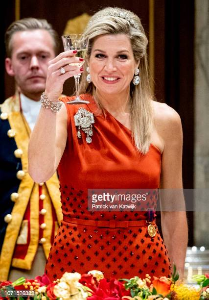 Queen Maxima of The Netherlands during an state banquet for the President of Cape Verde Jorge Carlos de Almeida Fonseca on December 10, 2018 in...