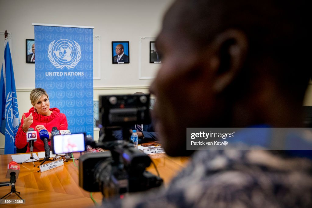 Queen Maxima of The Netherlands during the debriefing and press conference at the UN local office on November 2, 2017 in Abuja, Niger.