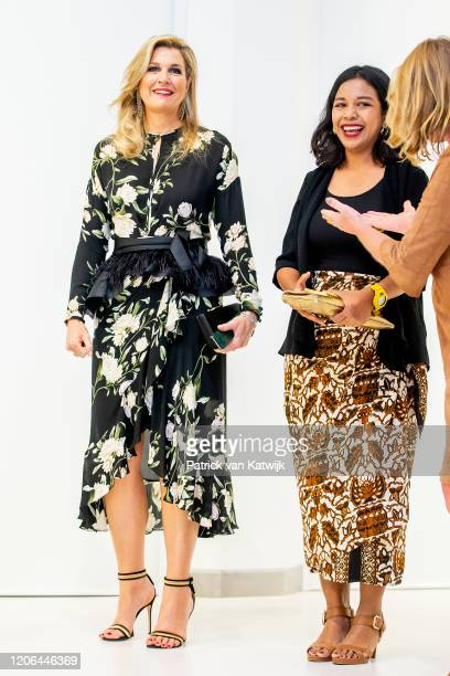 Queen Maxima of The Netherlands during the meeting with the Dutch Society and the opening of the Photo Exhibition Innovation on March 10 2020 in...