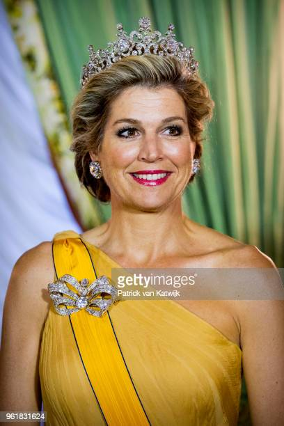 Queen Maxima of The Netherlands during the official picture at the state banquet in the Grand Ducal Palace on May 23, 2018 in Luxembourg, Luxembourg....