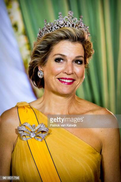 Queen Maxima of The Netherlands during the official picture at the state banquet in the Grand Ducal Palace on May 23 2018 in Luxembourg Luxembourg...