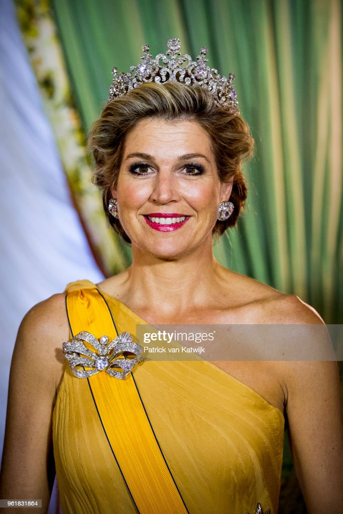 Queen Maxima of The Netherlands during the official picture at the state banquet in the Grand Ducal Palace on May 23, 2018 in Luxembourg, Luxembourg. The Dutch King and Queen are in Luxembourg for an three day state visit