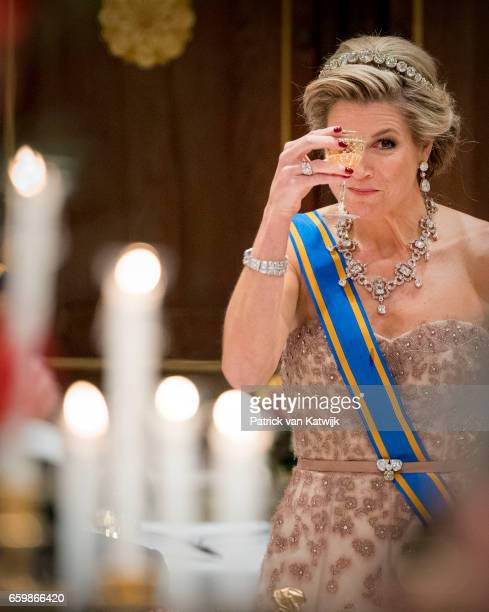 Queen Maxima of The Netherlands during the state banquet for the Argentinean president in Amsterdam on March 27 2017 in Amsterdam The Netherlands The...