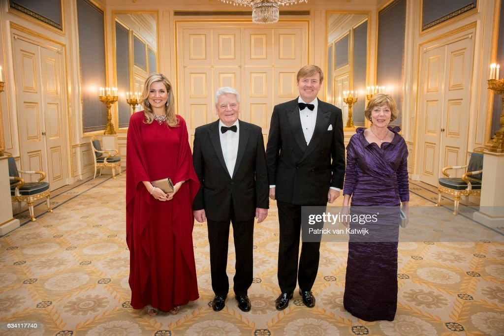 Queen Maxima of the Netherlands, German President Joachim Gauck, King Willem-Alexander of the Netherlands and German President's partner Daniela Schadt in Palace Noordeinde on February 6, 2017 in The Hague, Netherlands.
