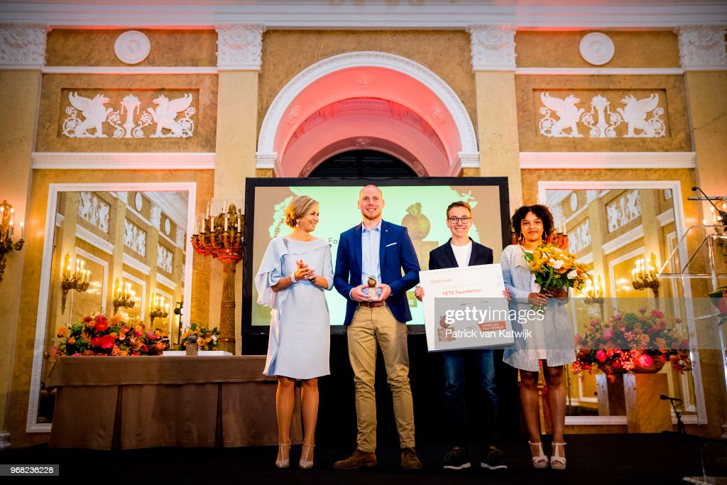 Queen Maxima of The Netherlands hand over the Appeltjes van oranje Award to Foundation YETS founder Peter Ottens during the award ceremony of the Appeltjes van Oranje for social projects on June 6, 2018 in The Hague, Netherlands. Queen Maxima is patroness of the Oranje Foundation that organizes the Appeltjes van Oranje award.
