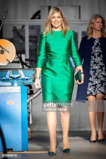 Queen Maxima of The Netherlands in a green dress by Belgian Designer Edouard Vermeulen from Natan visits family company Octatube on the day of the...