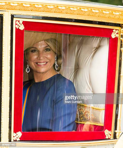 Queen Maxima of the Netherlands in a royal carriage at The Noordeinde Palace during Princes Day on September 20 2016 in The Hague Netherlands