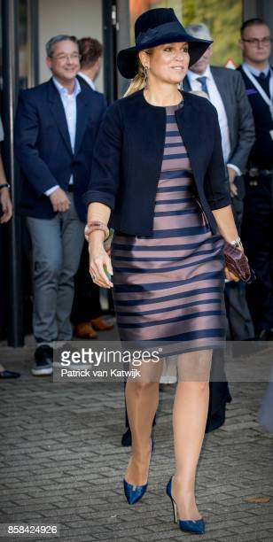 Queen Maxima of The Netherlands in her outfit of Belgian designer NATAN visits 5th Teacher's Congress the on October 5, 2017 in Amersfoort,...