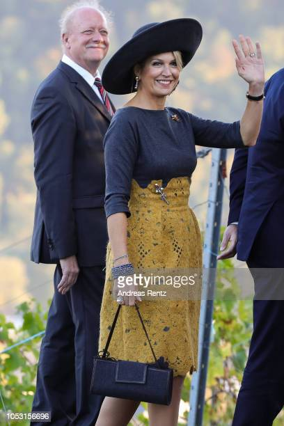 Queen Maxima of The Netherlands inspecting local vineyards in the Mosel region on October 10 2018 in BernkastelKues Germany King WillemAlexander of...