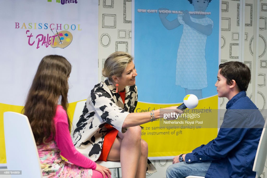 Queen Maxima Of Holland Kicks Off Musical Instruments Fundraising Campaign For Young Students : News Photo