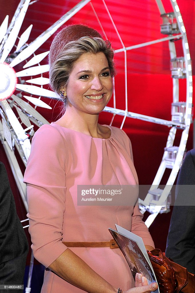 Queen Maxima of The Netherlands is being introduced to different Businesses at the Museum of Fashion and Design during an economical dialogue between the MEDEF (French Business Confederation) and the VNO ( Deutsch Business Confederation) on March 11, 2016 in Paris, France. Queen Maxima and King Willem-Alexander of The Netherlands are on a two-day state visit in France