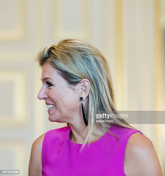 Queen Maxima of The Netherlands is seen at the Noordeinde Palace during a meeting with Canadian Governor General David Johnston on October 27, 2014...