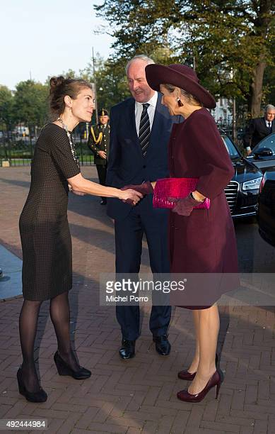Queen Maxima of The Netherlands is welcomed by Amsterdam Deputy Mayor Simone Kukenheim and Johan Remkes before opening the 10th International Hands...