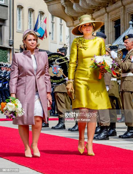 Queen Maxima of The Netherlands is welcomed by Grand Duchess Maria Teresa of Luxembourg with an official welcome ceremony on May 23 2018 in...