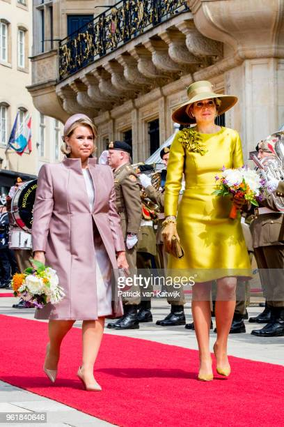 Queen Maxima of The Netherlands is welcomed by Grand Duchess Maria Teresa at the Grand Ducal Palace on May 23 2018 in Luxembourg Luxembourg The Dutch...