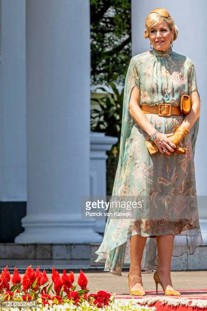 Queen Maxima of The Netherlands is welcomed by President Jcand his wife Iriana Widodo with an official welcome ceremony at the Presidential Palace on...