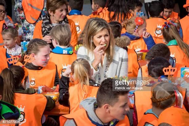 Queen Maxima of The Netherlands joins the King's Games breakfast at De Vijfmaster school on April 21 2017 in Veghel Netherlands