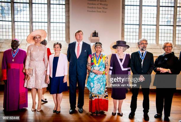 Queen Maxima of The Netherlands King WillemAlexander of The Netherlands and Princess Beatrix of the Netherlands with the winners of the Four Freedom...