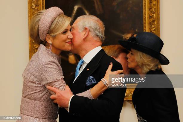 Queen Maxima of the Netherlands, King Willem-Alexander of the Netherlands, Camilla, Duchess of Cornwall and Prince Charles, Prince of Wales greet...