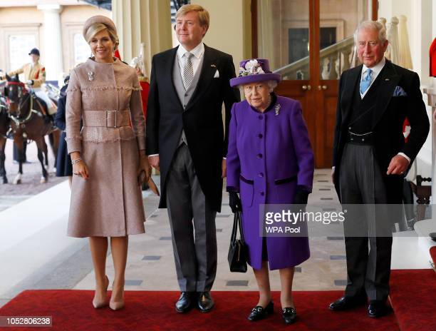 Queen Maxima of the Netherlands King WillemAlexander of the Netherlands Queen Elizabeth II and Prince Charles Prince of Wales arrive at Buckingham...